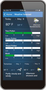 Photo of a screenshot of the 3-Day Forecast feature on the Aprilaire 8920W Wi-Fi Thermostat