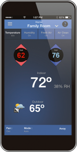 Screenshot of the temperature screen on the Aprilaire 8920W Wi-Fi Thermostat